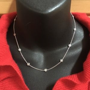 14K White Gold Diamond by Yard Medallion Necklace